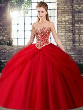 Luxurious Red Tulle Lace Up 15 Quinceanera Dress Sleeveless Brush Train Beading and Pick Ups
