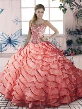 Fashionable Sleeveless Beading and Ruffled Layers Lace Up Quinceanera Dresses with Watermelon Red Brush Train