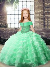 Apple Green Lace Up Little Girls Pageant Dress Wholesale Beading and Ruffled Layers Sleeveless Floor Length