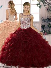 Modest Burgundy Organza Lace Up Ball Gown Prom Dress Sleeveless Floor Length Beading and Ruffles