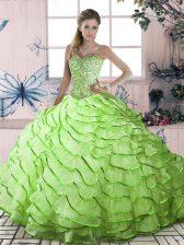 Yellow Green 15th Birthday Dress Organza Brush Train Sleeveless Ruffled Layers
