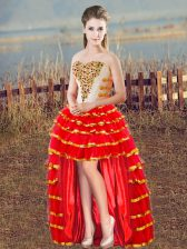 Noble Organza Sweetheart Sleeveless Lace Up Beading and Ruffled Layers Homecoming Dress in Red