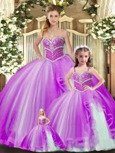 Floor Length Lavender Quince Ball Gowns Tulle Sleeveless Beading