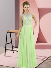 On Sale Zipper High-neck Beading Prom Gown Chiffon Sleeveless