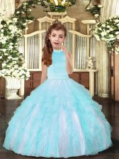 Affordable Aqua Blue Backless Halter Top Beading and Ruffles Winning Pageant Gowns Tulle Sleeveless