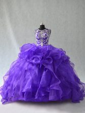 Purple 15th Birthday Dress Sweet 16 and Quinceanera with Beading and Ruffles Scoop Sleeveless Lace Up