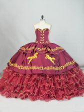 On Sale Sleeveless Satin and Organza Brush Train Lace Up Sweet 16 Quinceanera Dress in Burgundy with Embroidery and Ruffled Layers