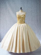 Edgy Floor Length Champagne Quince Ball Gowns Tulle Sleeveless Beading