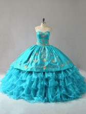Great Floor Length Lace Up Sweet 16 Dresses Aqua Blue for Sweet 16 and Quinceanera with Embroidery and Ruffles