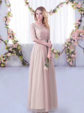 New Style Pink Tulle Side Zipper V-neck Half Sleeves Floor Length Dama Dress Lace and Belt