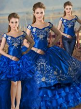 Sleeveless Floor Length Embroidery and Ruffled Layers Lace Up Ball Gown Prom Dress with Royal Blue