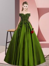 Satin Off The Shoulder Sleeveless Zipper Lace Quince Ball Gowns in Olive Green
