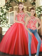 Great Coral Red Sleeveless Floor Length Embroidery Lace Up Quince Ball Gowns