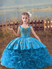 Beauteous Baby Blue Fabric With Rolling Flowers Lace Up Little Girl Pageant Dress Sleeveless Sweep Train Embroidery