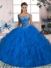 Sleeveless Beading and Ruffles Lace Up Quinceanera Gown with Blue