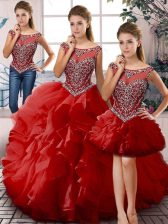 Red Organza Lace Up Quinceanera Gown Sleeveless Floor Length Beading and Ruffles