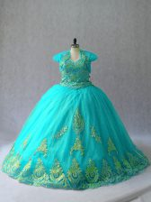 Aqua Blue Quinceanera Dresses Sweetheart Sleeveless Lace Up