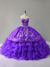 Popular Purple Sleeveless Organza Lace Up Quinceanera Gown for Sweet 16 and Quinceanera