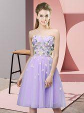 Wonderful Lavender Lace Up Damas Dress Appliques Sleeveless Knee Length