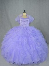 Luxury Lavender Sweetheart Lace Up Beading and Ruffles Quinceanera Dress Sleeveless