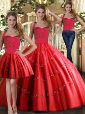 Elegant Floor Length Three Pieces Sleeveless Red Quinceanera Dress Lace Up