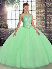 Elegant Green Scoop Lace Up Embroidery 15 Quinceanera Dress Sleeveless