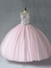 Lovely Baby Pink Ball Gown Prom Dress Sweet 16 and Quinceanera with Beading Scoop Sleeveless Lace Up