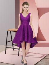 High Low Purple Vestidos de Damas V-neck Sleeveless Zipper