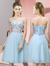 Latest Knee Length Light Blue Vestidos de Damas Sweetheart Sleeveless Lace Up