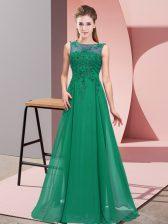 Amazing Scoop Sleeveless Zipper Dama Dress Dark Green Chiffon