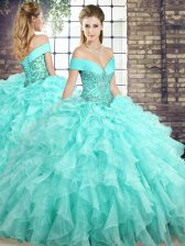 Dazzling Sleeveless Beading and Ruffles Lace Up Quinceanera Dress with Aqua Blue Brush Train