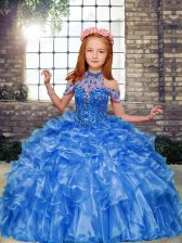Enchanting Blue Little Girl Pageant Gowns Party and Military Ball and Wedding Party with Beading and Ruffles High-neck Sleeveless Lace Up