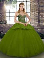 High Class Beading and Appliques 15th Birthday Dress Olive Green Lace Up Sleeveless Floor Length