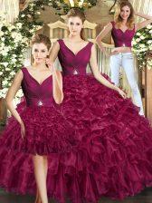 Sleeveless Backless Floor Length Ruffles Quince Ball Gowns