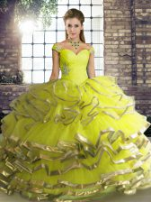 Cute Tulle Sleeveless Floor Length Quinceanera Gown and Beading and Ruffled Layers