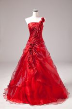 Red Lace Up Sweet 16 Quinceanera Dress Sleeveless Floor Length Beading