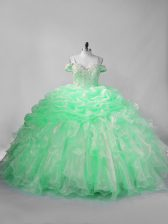 Sleeveless Lace Up Beading and Pick Ups Quinceanera Gown