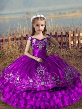 Latest Sleeveless Embroidery and Ruffled Layers Lace Up Little Girl Pageant Gowns