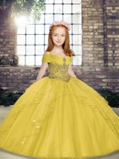 Perfect Floor Length Yellow Winning Pageant Gowns Tulle Sleeveless Beading