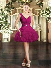 Classical Fuchsia V-neck Backless Beading Prom Dresses Sleeveless
