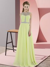 Glamorous Floor Length Zipper Evening Dress Yellow for Prom and Party with Beading