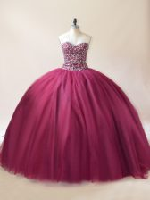 Traditional Sleeveless Lace Up Floor Length Beading Quinceanera Dress