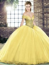 Best Lace Up Quinceanera Dresses Gold for Military Ball and Sweet 16 and Quinceanera with Beading Brush Train