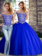 Beauteous Royal Blue Two Pieces Beading 15 Quinceanera Dress Lace Up Tulle Sleeveless