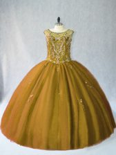 Customized Sleeveless Lace Up Floor Length Beading Quinceanera Gown