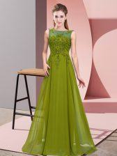 Beautiful Sleeveless Chiffon Floor Length Zipper Vestidos de Damas in Olive Green with Beading and Appliques