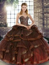 Brown Lace Up Quinceanera Dress Beading and Ruffles Sleeveless Floor Length