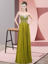 Traditional Chiffon Sleeveless Floor Length Evening Dress and Beading