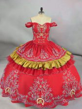 Red Ball Gown Prom Dress Sweet 16 and Quinceanera with Embroidery Off The Shoulder Sleeveless Lace Up