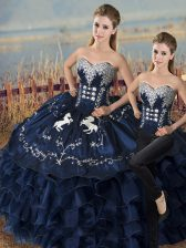 Most Popular Navy Blue Sleeveless Satin and Organza Lace Up Sweet 16 Quinceanera Dress for Sweet 16 and Quinceanera